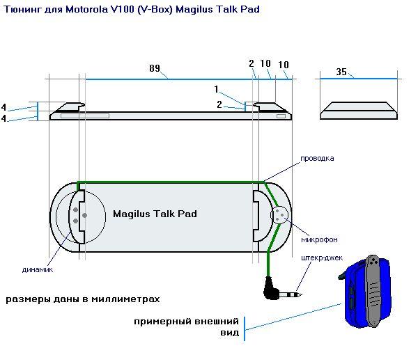 Вот схема устройства.  Работа с Motorola V100 (V-Box) (далее по тексту аппарат) показала, что отсутствие альтернативы...